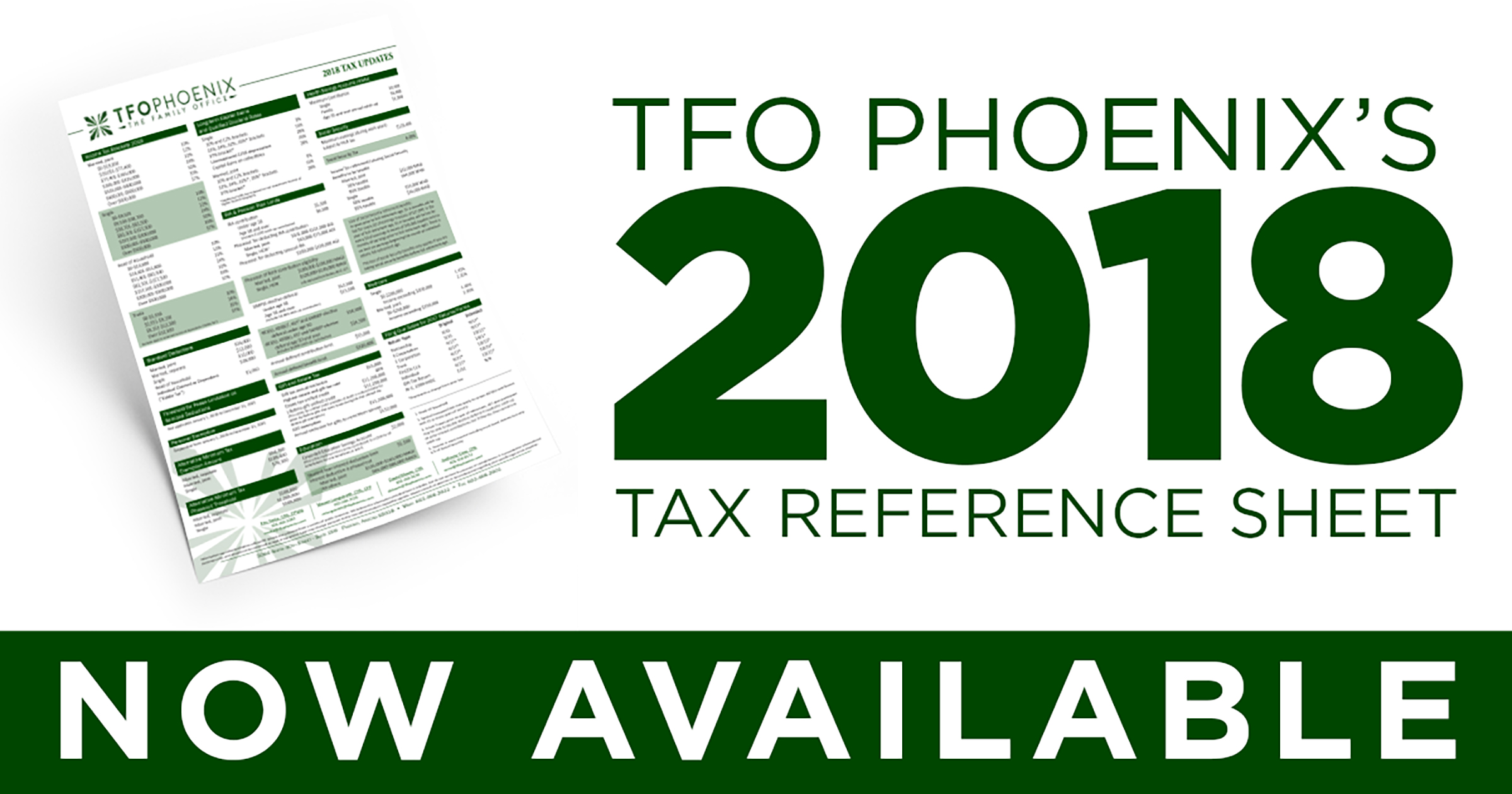 2018 Tax Reference Sheet
