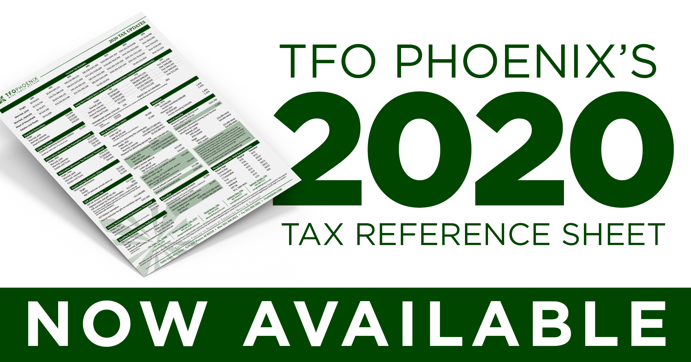 2020 Tax Reference Sheet
